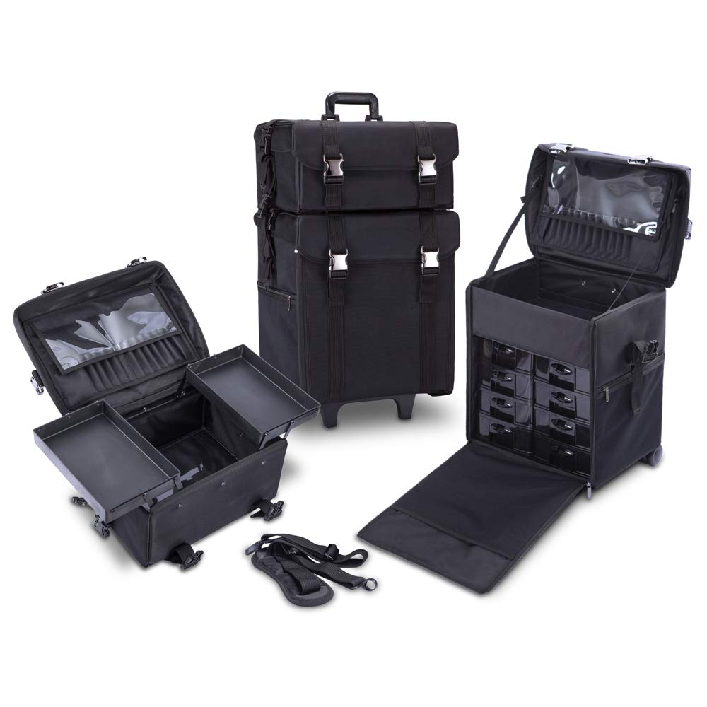 Amazon.com : KIOTA 2 in 1 Pro Makeup Artist Case on Wheels, Multifunction Cosmetic Organizer with Removable Drawers, Beauty Trolley, Soft Case with PREMIUM ...