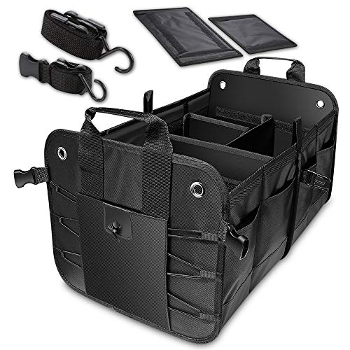 Evilarom Durable Collapsible Adjustable Compartments Car Trunk Organizer with Straps for auto, SUV, Truck, Minivan