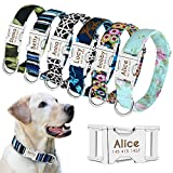 Beirui Personalized Dog Collar with Name Plate - Fashion Patterns Custom Dog Collar with Quick Release Buckle - Fits Medium Large Dogs,S,M,L (M:Width 3/4',Neck 12-19.5', Bohemia Daisy)