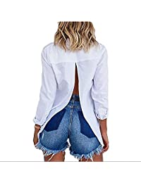 Sexy Backless Button Up Slit Back Blouse Tops Casual T Shirt Tee Top for Girl Women (White, XL)