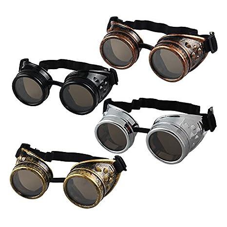 Amazon.com: Hippy Vintage Punk Glasses Mokao Classical Eyewear Fashion Flat Lens Women Men Metal Spectacle Frame Steampunk Goggles Welding Cosplay ...