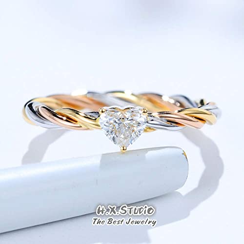 Amazon Com Solid 18k Tri Color Gold Heart Diamond Engagement Ring