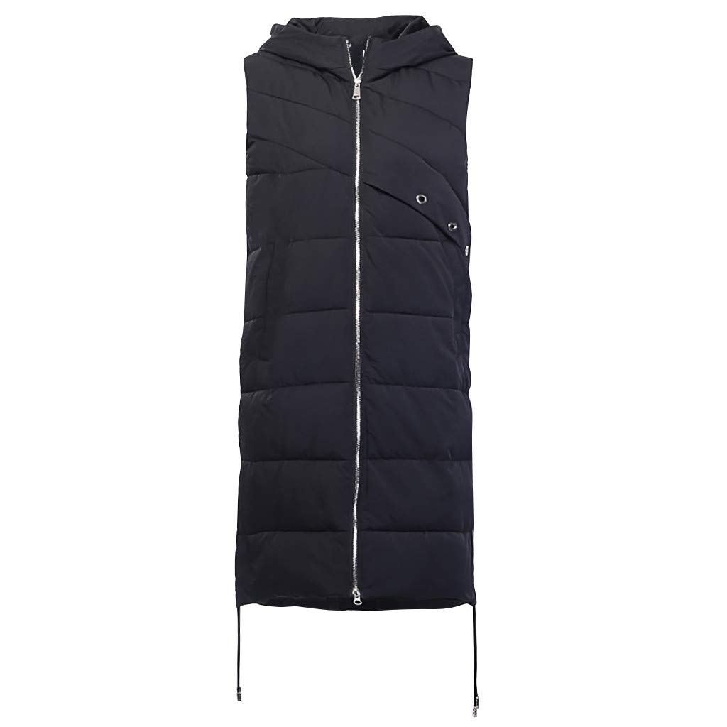 YWLINK Women Fashion Solid Sleeveless Zipper Hooded Cap Long Coats Eiderdown Jackets Stylish Keep Warm Lightweight Fantastic Quality Cheep