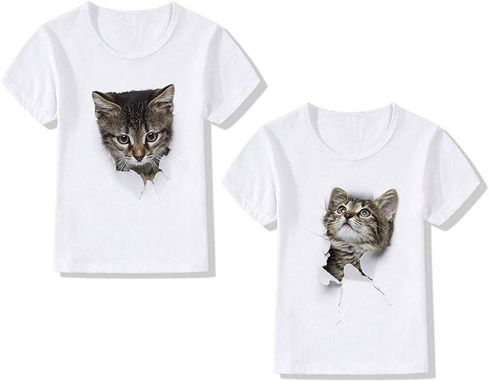 6# XXXL dSNAPoutof Fashion Kids Summer Cute Cat T-Shirt O Neck Short Sleeve Top Soft Clothes