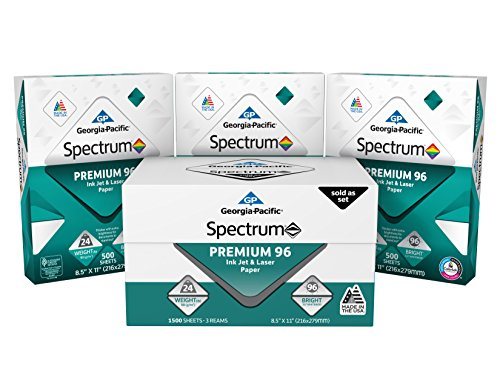 - GP Spectrum Premium 96 Ink Jet & Laser Paper, 8.5 x 11 Inches, 3-Ream (1500 Sheets) (998605)