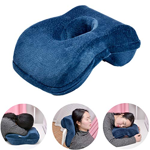 (Nap Sleeping Face Pillow - Bamboo Charcoal Pure Memory(slightly hard)Foam Nap Pillow Slow Rebound Desk Pillow with Hollow Design for Face Down pillow Sleeper Back Support, Removable Washable Velvet Co )