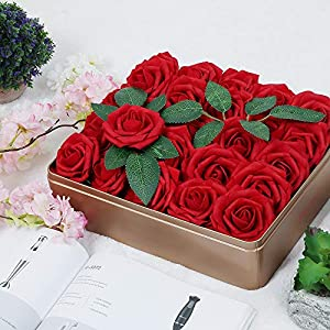AmyHomie Pack of 50 Real Looking Artificial Roses w/Stem for DIY Wedding Bouquets Centerpieces Arrangements Party Baby Shower Home Decorations (red) 5