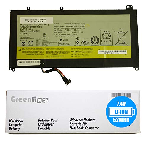 GreenTech New L12M4P62 Replacement Battery for Lenovo Ideapd U430, Ideapad U430P Touch, Ideapad U530, Ideapad U530 Touch - GreenTech 7.4V 7100mah 52Whr 4 Cell Battery 121500163 2ICP6/55/85-2 L12L4P62 ()