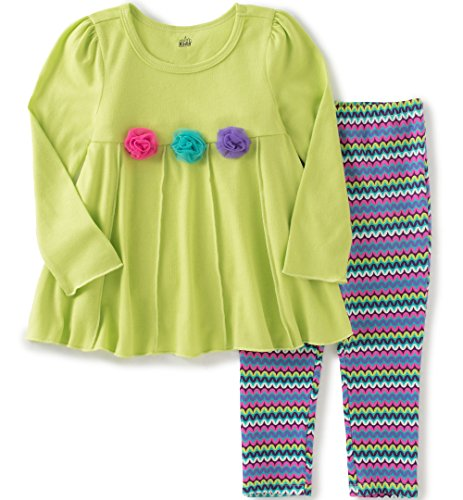Kids Headquarters Little Girls Rosettes Tunic With Leggings Set, Green, 5 (Leggings Kids)