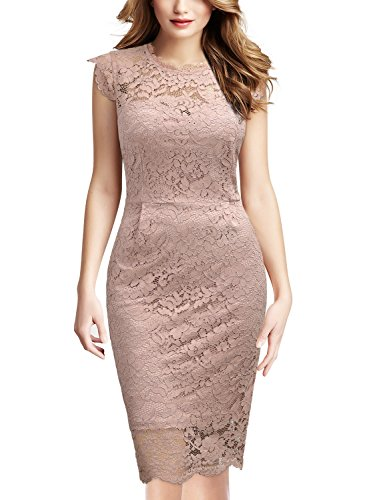 Miusol Women's Retro Floral Lace Slim Evening Cocktail Mini Dress (X-Large, Pink)