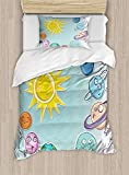 Big buy store Space Duvet Cover, Cute Cartoon Sun and Planets of Solar System Fun Celestial Chart Baby Kids Nursery Theme, Decorative 4 Piece Bedding Set with 2 Pillow Sham, Multi(Twin)