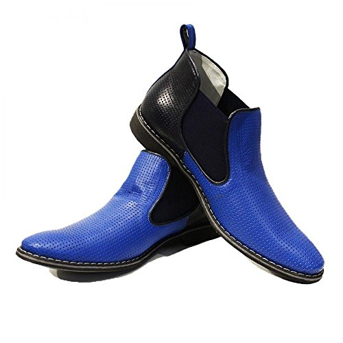 Leather Blue Mens PeppeShoes Cowhide Boots Modello Chelsea Embossed Slip On Handmade Italian Ankle Leather Giacobbe wqqBAfTx