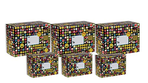 Jillson Roberts 6-Count Decorative Mailing Boxes Available in 5 Different Assortments, Assorted Sizes, Emojis