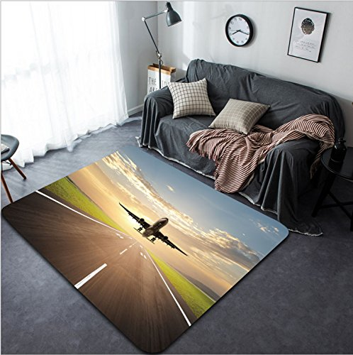 Vanfan Design Home Decorative 25111642 airplane landing at airport during dusk hour Modern Non-Slip Doormats Carpet for Living Dining Room Bedroom Hallway Office Easy Clean - Philadelphia Hours Airport