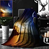 Unique Custom Double Sides Print Flannel Blankets Apartment Decor Serene Landscape With Moon Lunar And Star Mystic Holy Sky Over Lak Super Soft Blanketry for Bed Couch, Throw Blanket 50 x 70 Inches
