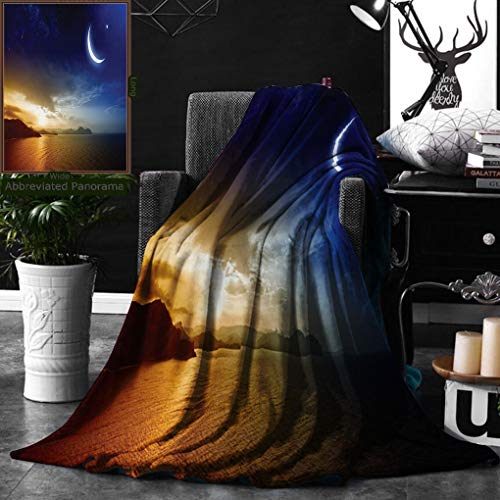 Unique Custom Double Sides Print Flannel Blankets Apartment Decor Serene Landscape With Moon Lunar And Star Mystic Holy Sky Over Lak Super Soft Blanketry for Bed Couch, Throw Blanket 50 x 70 Inches by Ralahome