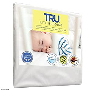 Crib Size - Mattress / Bed Cover - Premium Smooth Mattress Protector, 100% Waterproof, Hypoallergenic, Breathable Cover Protection from Dust Mites, Allergens, Bacteria, Urine - TRU Lite Bedding