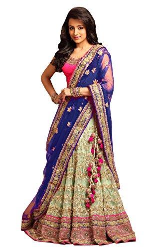 Indian/ Pakistani Women's New Collection Net Designer Lehenga Choli... (Blue) (Lehenga Choli)