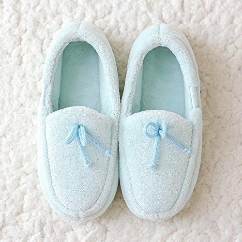 LaxBa Femmes Hommes chauds dhiver Chaussons peluche antiglisse intérieur Cotton-Padded Chaussures Slipper bleum code (37-38)