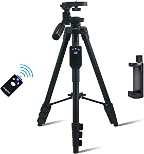 """Fugetek 54"""" Tripod, Works with Phone & Camera, Use for Facetime, Video Calls, Teaching, Lightweight Aluminum, Removable Bluetooth Remote, Mount Smartphone, DSLR, Compatible with Apple Android, Black"""