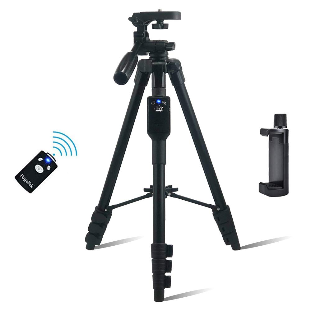 """Fugetek 54"""" Photo Video Tripod, Bluetooth Remote, Works with Phone & Camera, Lightweight Aluminum, Extendable, 360 Rotation, Compatible with Apple, Android, DSLR, with Carrying Bag, Black"""