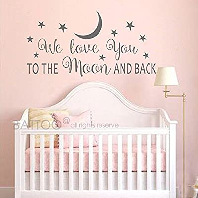 "BATTOO Nursery Wall Decal - We Love You to The Moon and Back Wall Decal - Nursery Wall Decal - Moon and Stars Wall Decal - Childrens Room Decor(Dark Gray, 30""WX15""H): Baby"