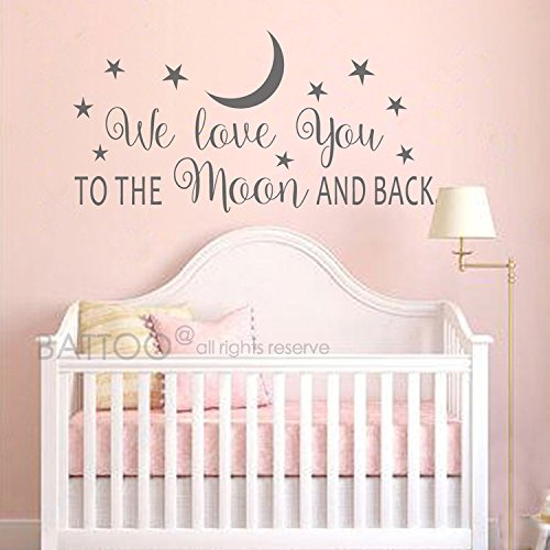 BATTOO Nursery Wall Decal - We Love You To The Moon And Back Wall Decal - Nursery Wall Decal - Moon And Stars Wall Decal - Childrens Room Decor(dark gray, 30''WX15''H)