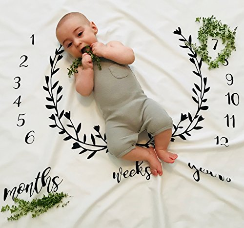 Monthly Milestone Baby Blanket Backdrop - Photography Photo Prop Growth Chart - Newborn Toddler Infant Pet Props – Black and White Design by Jolly ()