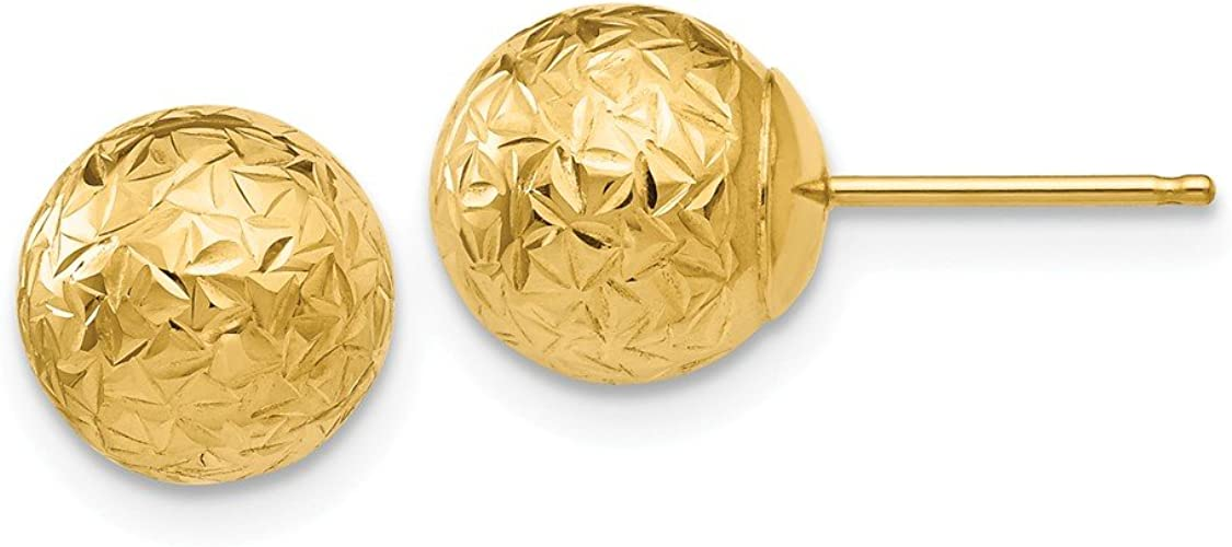 14k Yellow Gold Round 8mm Crystal Cut Ball Post Stud Earrings Button Fine