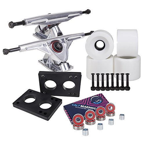 Cal 7 Longboard Skateboard Combo Package with 70mm Wheels & 180mm Lightweight Aluminum Trucks, Bearings Complete Set & Steel Hardware (Silver Truck + Solid White Wheels)