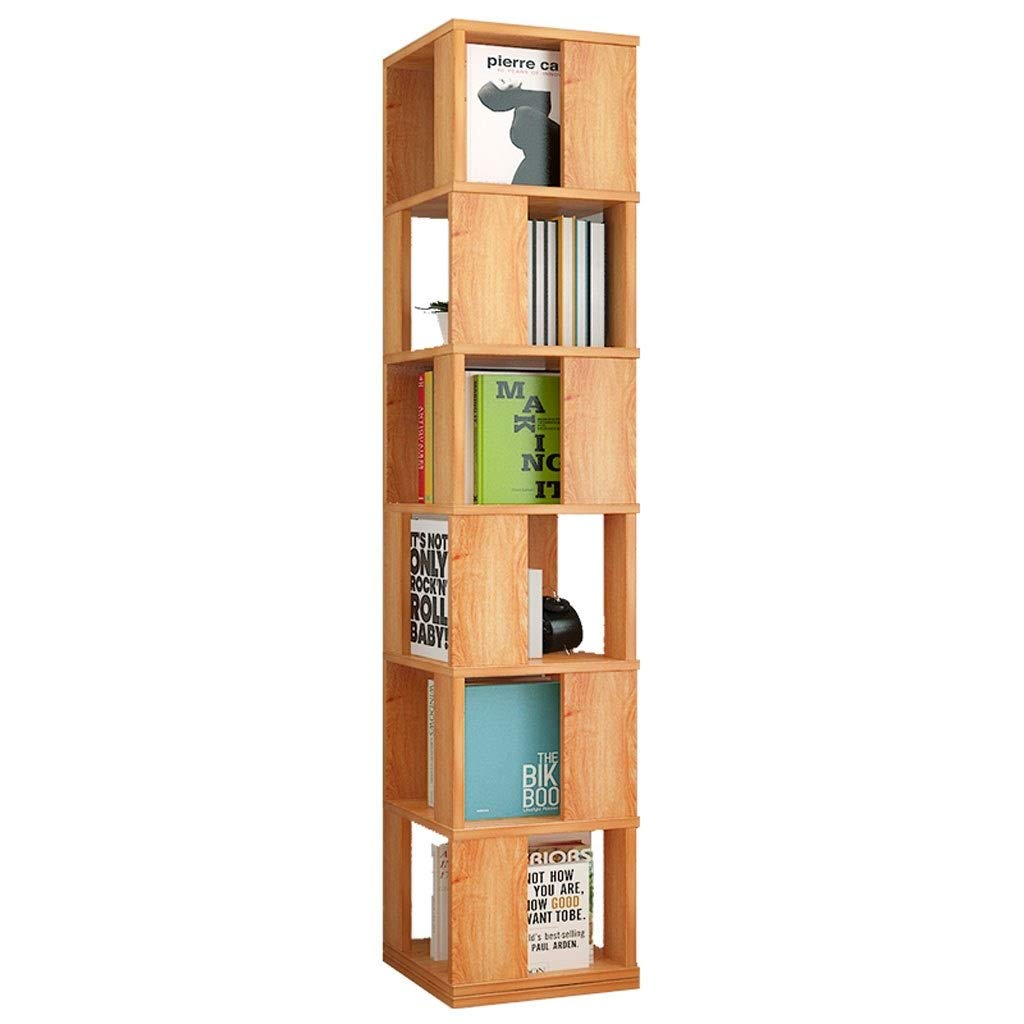 TIAN 6-Layer Multi-Function 360° Rotating Wooden Bookshelf Assembled Vertical Bookcase Storage Cabinet Divider Unit Storage Lockers (Color : A) by TIAN