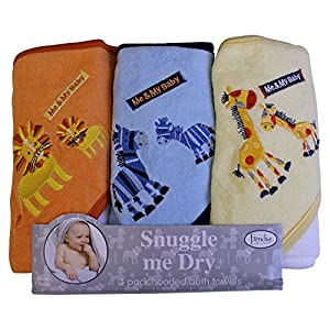 Frenchie Mini Couture « Me and My Baby » Lot de 3 serviettes de bain à capuche avec motifs d'animaux