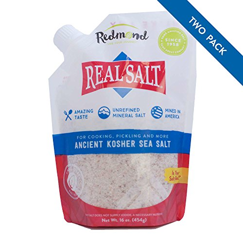 (Redmond Real Sea Salt - Natural Unrefined Organic Gluten Free Kosher, 16 Ounce Pouch (2 Pack))