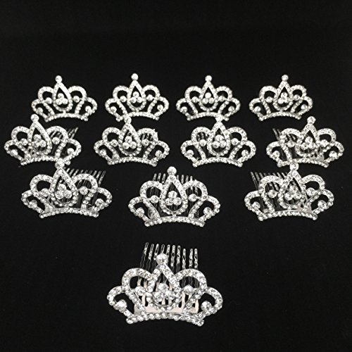 Butterfly Craze Princess Crown Comb Mini Tiara Hair Clips for Princess Party Favor 12 pcs]()