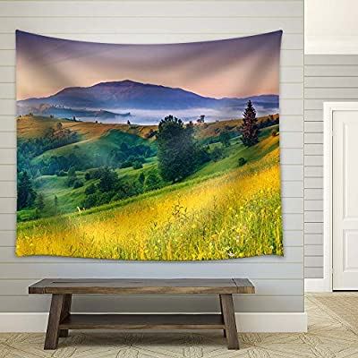 Lovely Piece of Art, Colorful Landscape on Mountain Top in Spring, Original Creation