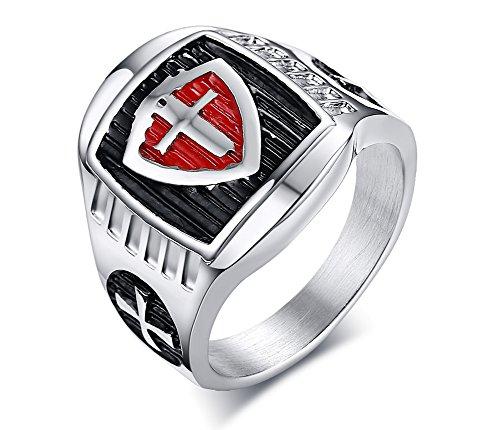 PJ Mens Vintage Stainless Steel Medieval Crusader Armor Shield Knight Templar Cross Signet Ring,Size -