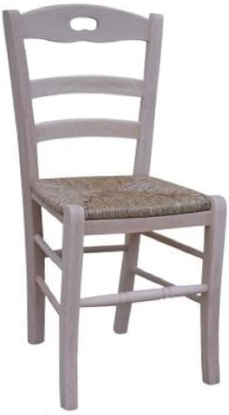 OKAFFAREFATTO MADDALONI Sedia in Legno massello Seduta in Paglia Ristorante casa già montata Legno Grezzo da verniciare Modello Lory con poggiapiedi