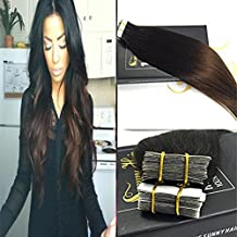 Sunny 24inch Ombre Braiding Hair Two Tone Color Natural Black to Chocolate Brown Tape in Hair Extensions Seamless Remy Hair Extensions 20pc 50G Per Package