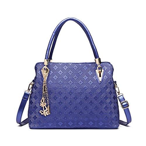 Miss LuLu Damentasche SET 4 tlg. Henkeltasche Kleine Schultertasche Handtasche Kartenhülle Tasche Shopper Freiheit Urlaub (18M BN) E6714-Dunkelblau 9HWC77
