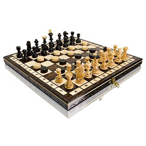 35.6cm Perle Bois jeu d'échecs et de dames 35cm x 35cm