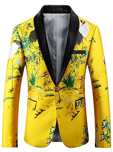 [해외]내 남성 캐주얼 드레스 꽃 노란색 정장 노치 옷 깃 슬림 맞는 세련 된 재킷 디지털 인쇄 크레인 패턴 / MY`S Men`s Casual Dress Floral Yellow Suit Notched Lapel Slim Fit Stylish Blazer Digital Printing Crane Pattern