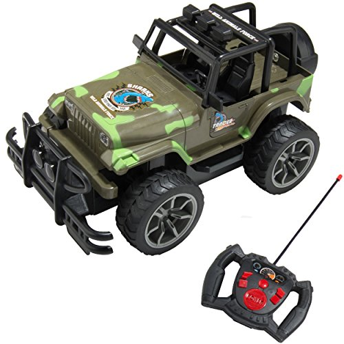 - 1:15 Scale Kid's Full Function Remote Controlled Army Green Camouflage Jeep R/C Vehicle Toy Car with Working Headlights