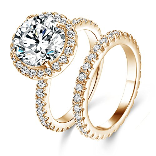 Gold Wedding Ring Sets - Jiangyue Women Rings AAA Cubic Zirconia Champagne Gold Plated Elegant Luxury 2pcs Set Ring Party Jewelry Size 5