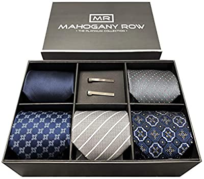 Luxury Necktie Collections in Gift Box, 5 Italian Neckties, 2 Modern Tie Bars, Designer Gift Box, The Must Have Gift Set