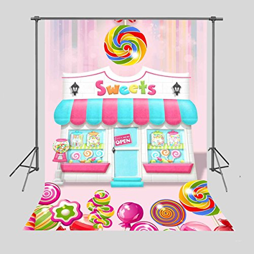 FUERMOR 5x7ft Sweet Candy Shop Backdrop Photography Background Children Newborn Photo Props NANFU089