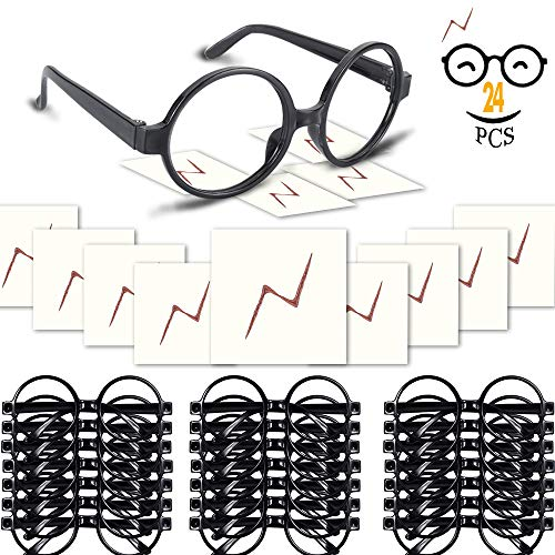 - YoHold Wizard Glasses with Round Frame No Lenses and Lightning Bolt Tattoos for Kids Wizard, Halloween, St Patrick's Day Costume Party, 24 Pack of Each, Black