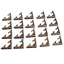 Dophee 20Pcs 30x30x4.5mm Vintage Antique Brass Wood Box Bracket Case Chest Corner Protector Guard Decoration
