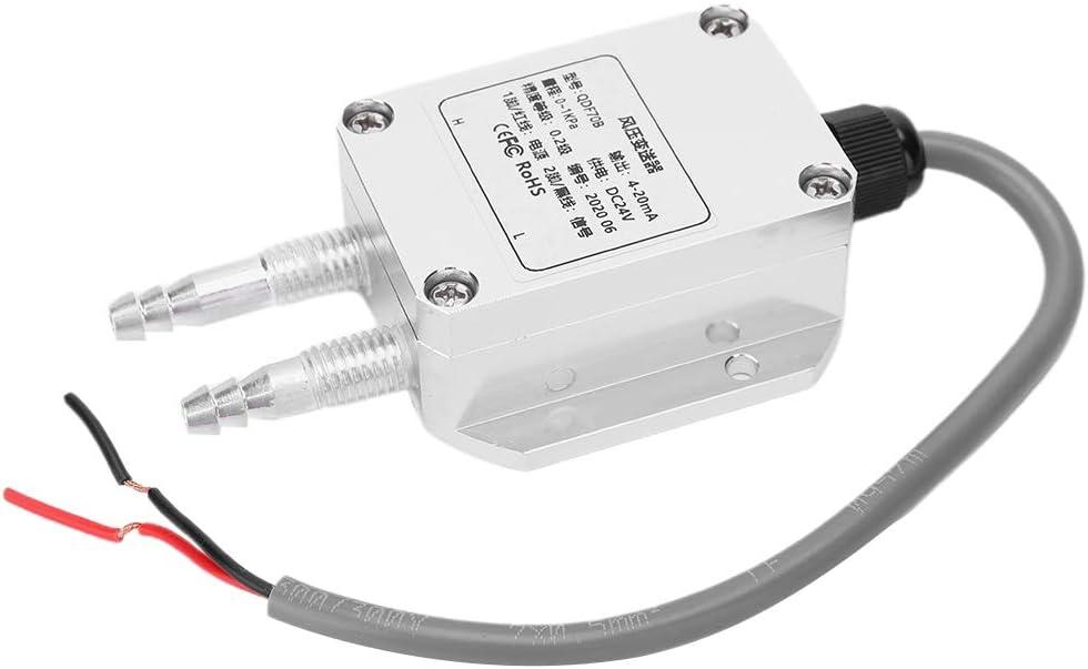 Weikeya Transmisor de presión de Viento diferencial, Hilo M10 ± 0.03% FS/C DC24V Transmisor Binario Aleación de Aluminio (Plata)