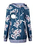 Cinery Plus Size Nursing Tops, Latched Mama Breastfeeding Relaxed Fit Casual Postpartum Clothes Drawstrings Long Sleeve Hoodie Sweatshirts for Women (Floral Blue XL)