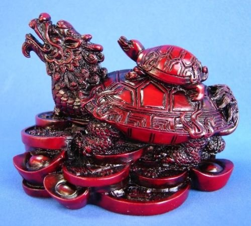 Monkey King TM Feng Shui Dragon Turtle Tortoise Statue Figurine Standing on a bed of Coins and Gold Ingots Lucky Wealth ()